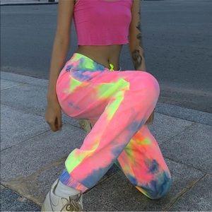 Pants - Neon Tie dye joggers pants
